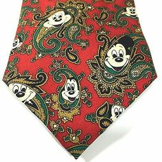 Disney Hidden Mickey Mouse Red Paisley Necktie from Balancine, The Tie Works. Silk, Hand Made. Sock Cupcakes, Mickey Mouse Cupcakes, Disney Mickey Mouse, Hidden Mickey, Vintage Mickey, Red Christmas, Mousse, Etsy Seller, Neck Ties