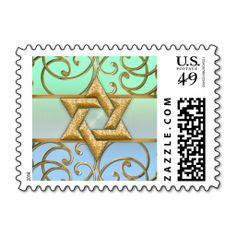 Gold Filigree Star of David Postage Stamp