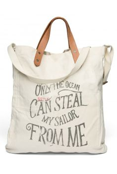 Cotton canvas tote bag with double leather handles, shoulder strap,  lettering print. Off