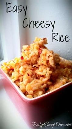 Easy Cheesy Rice - Cooking it now. Gf Recipes, Side Dish Recipes, Mexican Food Recipes, Great Recipes, Cooking Recipes, Favorite Recipes, Cooking Icon, Celiac Recipes, Recipies