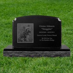 10x16 Engraved Pet Photo Black Granite Mini Monument