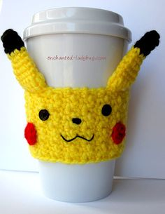 FREE Crochet Pikachu Coffee Cup Cozy Pattern