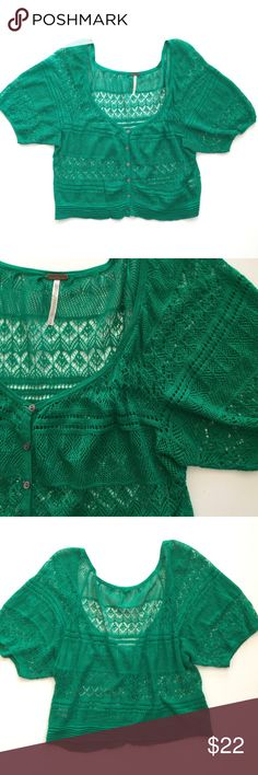 """Free People Spring Grass Green Cropped Cardigan Adorable Free People cropped sweater. Lightweight open knit. Cropped fit. Very good condition. 55% cotton, 45% modal. Size large. 20 1/2"""" shoulder to bottom hem. 18"""" pit to pit. Free People Tops Crop Tops"""