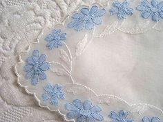 Vintage Madeira Organdy Linen Blue & White Tray Vanity Bread Dresser Doily