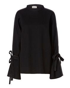 Beaufille Neoprene Sweatshirt: Black: We love the use of neoprene fabric on this…