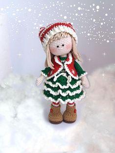 Amigurumi crochet Christmas doll pattern PDF for toy making Jovie, the Christmas Elf : Amigurumi crochet Christmas doll pattern PDF for toy making image 1 Handmade Dolls Patterns, Knitted Doll Patterns, Animal Knitting Patterns, Crochet Doll Pattern, Knitted Dolls, Crochet Patterns, Crochet Amigurumi, Amigurumi Doll, Head To Toe