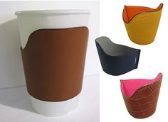 Hermes cup holders - way to repurpose those scraps of leather and crocodile