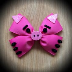 Toy Story Character Inspired Pink Hamm by ClarkesGeekBowtique Fabric Bows, Ribbon Bows, Fabric Flowers, Grosgrain Ribbon, Ribbons, Toddler Hair Bows, Baby Girl Bows, How To Make Headbands, Making Hair Bows