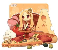 Imagem de pizza, anime, and chibi