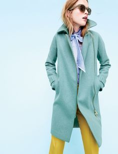 J. Crew Belted Zip Trench Coat in Wool Melton, Collection Thomas Mason for J. Crew Cocktail Shirt, Collection Cropped Pant with Patch Pockets in Golden Chartreuse and Sam Sunglasses in Olive