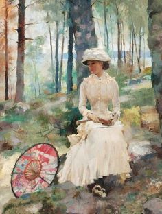 Under The Birches By Albert Edelfelt Art Reproduction from Cutler Miles. Choose from Canvas Art, Framed, or Unframed Wall Art. We Ship Worldwide with Free UPS Shipping. Art Et Illustration, Art Moderne, Beautiful Paintings, Oeuvre D'art, Art Reproductions, Female Art, Art Boards, Original Paintings, Art Gallery