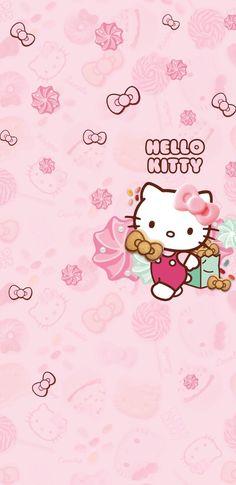 Walpaper Hello Kitty, Pink Walpaper, Hello Kitty Iphone Wallpaper, Hello Kitty Backgrounds, Kawaii Wallpaper, Melody Hello Kitty, Hello Kitty Art, Hello Kitty Pictures, Sanrio Hello Kitty