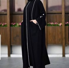 Abaya Designs Latest, Abaya Designs Dubai, Simple Abaya Designs, Muslim Women Fashion, Islamic Fashion, Mode Abaya, Mode Hijab, Niqab Fashion, Dubai Fashion