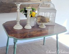 Vintage dropleaf table painted a blue/green,distressed and then glazed. Pine top stained in a medium brown color