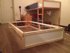 IKEA KURA Double Bunk Bed + Extra hidden bed (Sleeps - IKEA Hackers I hacked an extra bunk under the IKEA KURA double bunk bed. You can hide another mattress underneath it too. Wooden Bunk Beds, Cool Bunk Beds, Bunk Beds With Stairs, Kids Bunk Beds, Ikea Bunk Bed Hack, Ikea Kura Hack, Ikea Hackers, Triple Bunk Beds, Hidden Bed