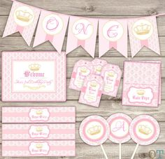 Baby Shower Party Package Digital Printable Princess Royal Printable Princess Crown Vintage Theme Digital crown SILVER Grey Damask Royal on Etsy, $33.66 CAD
