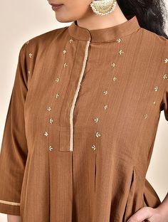 Camel Brown Embroidered Khadi Kurta Hand Embroidery Dress, Kurti Embroidery Design, Zardozi Embroidery, Khadi Kurta, Kurta Cotton, Simple Kurta Designs, Kurta Designs Women, Small Girls Dress, Plain Kurti