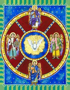 "The Prayer of the Four Archangels    Before bedtime, it is traditional to say this prayer or as it is also known , ""The Bedtime Shema."" The recital of the prayer is perceived as protection against the dangers of the night as it invokes the four archangels.    Each angel has a specific purpose: Michael, guards the children; Gabriel gives strength; Uriel lights our way; Raphael guards our physical and emotional well being.  The Divine Presence lends God's comfort."