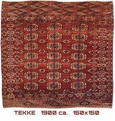 Tekke Antique Turkmen squarish Rug  1900 ca.   150x150
