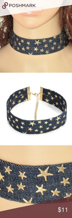 "Denim Gold Star Choker Necklace This beautiful choker made of denim with gold stars measures 12.5"" long with a 3.5"" extender. It is made really well and is sturdy for a choker. It's great for all year round, especially when it's time to show off our USA stars! A great piece of jewelry! poshnook Jewelry Necklaces"