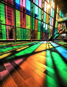 Palais de Congrès in Montreal, Canada. The sunset provided a rainbow of colors that welcomed visitors to this colorful convention center.
