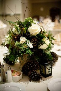 Winter wedding decor from www.TheWV.com. Pine cone and birch wood centerpiece.  Green and white winter wedding. Photo from Robert Holley Productions.