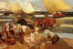 Beach at Valencia - Joaquín Sorolla - Completion Date: 1908
