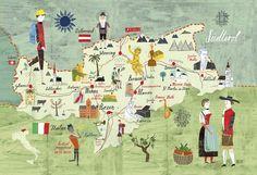 Martin Haake da personalidad a sus planos con colores y caligrafía. En la imagen, una perspectiva personal del sur del Tirol. En la colección de mapas creativos del libro 'A Map in the World' hay un gusto por lo artesano, por la vuelta a lo manual, a las vivencias en el territorio
