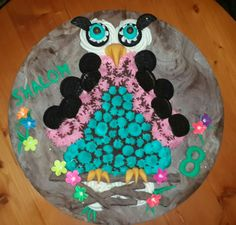 Owl theme... cake done with 20 cupcakes.