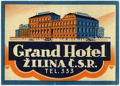 Grand Hotel Žilina Czechoslovakia luggage label