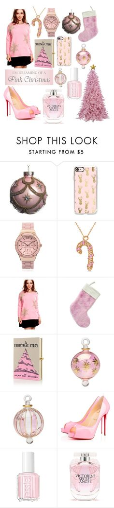 """""""pink Christmas"""" by agnesmarcella ❤ liked on Polyvore featuring Casetify, Journee Collection, Allurez, Olympia Le-Tan, Cultural Intrigue, Privé, Essie and Victoria's Secret"""