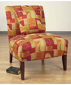 @Overstock - Accent Chair Geometric Red. Updates any home or office decor with contemporary style Crafted with a solid hardwood frame Covered in durable fabric upholstery Bold geometric design in hues of red, olive,...http://www.overstock.com/Home-Garden/Accent-Chair-Geometric-Red/1786224/product.html?CID=214117 $184.99