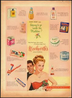 1953 Woolworth's Toiletries ad (type is so tiny can't tell if Evening in Paris was on this ad. That was a popular item with young girls.)