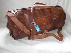 "Handmade Goat Leather 21"" Duffel Sport Overnight ROUND Bag DLR Billy Goat Design"