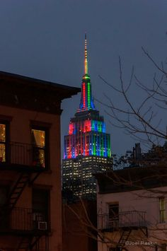 A new angle on the Empire State Building that's all lit up for the Super Bowl, NYC, NY by Joel Raskin