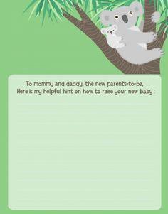 Koala Bear - Baby Shower Notes of Advice
