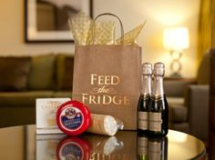 """The Peabody Orlando's """"Feed the Fridge"""" program ensures that the only items taking up valuable square footage in your room-away-from-home are the ones you want. Prior to arrival or once they've settled in, guests can tailor their fridge with prepackaged bundles selected from a simple menu."""