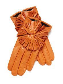 Pom Pom Lambskin Leather Glove