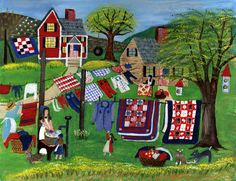 Washing the Red White & Blue Quilts Folk Art Print original painting by American Folk Artist Cheryl Bartley. Country Art, Country Primitive, Decoupage, Mandala, Arte Popular, Blue Quilts, Naive Art, Illustrations, Print Artist