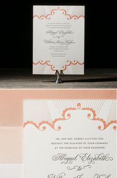 Peach Wedding Invitations from Bellafigura.com
