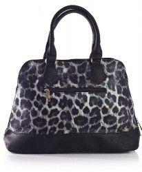 Big Handbag Shop Womens Leopard Print Handbag Grey with Black Trim