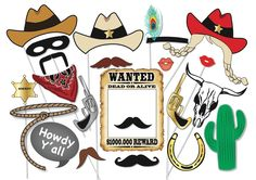 Cowboy or cowgirl Photo Booth Party Props Set - 25 Piece PRINTABLE - Western party, cowgirl, rodeo Photo Booth Props, patriots, Super Bowl by TheQuirkyQuail on Etsy https://www.etsy.com/no-en/listing/185836782/cowboy-or-cowgirl-photo-booth-party