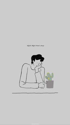 Kyungsoo that's okay walpapee Kyungsoo, Kaisoo, Chanbaek, Tumblr Wallpaper, Wallpaper Quotes, Aesthetic Drawing, Aesthetic Art, Arte Alien, Line Art Vector