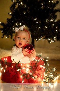 Inspiração para foto de Natal - bebê com luzinhas