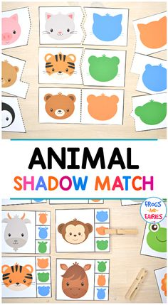 This is a fun animal shadow match printable activity pack for preschoolers to practice visual discrimination skills! It includes a lot of different puzzles and clip cards with adorable animals and their shadows! Animal Activities For Kids, Puzzles For Toddlers, Preschool Learning Activities, Preschool Printables, Infant Activities, Tot School, Play Doh, Adorable Animals, Animal Puzzle