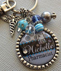 PHARMACIST keychain, pharmacy technician, instructor, CPhT, Nurse personalized name - prescription, pills, medical symbol. $17.50, via Etsy.