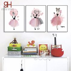 Watercolor Girls Canvas Art Print Poster,  Wall Pictures for Girl Room Decoration, Giclee Wall Decor CM022-in Painting & Calligraphy from Home & Garden on Aliexpress.com | Alibaba Group