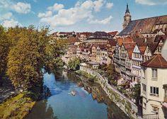 Neckar River, City University of Tuebingen, Baden-Württemberg, Germany