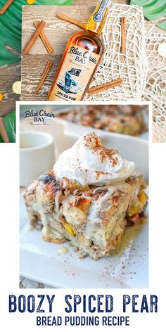 Boozy Spiced Pear Bread Pudding with Vanilla Rum Ice Cream Sauce Recipe. Try this perfect Thanksgiving dessert. A delicious treat during the cool fall months. Enjoy! #bluechairbay #BCBHappyHour #spicedrum