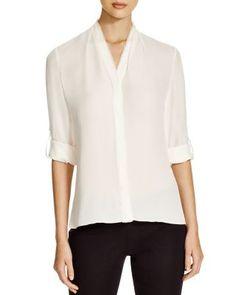 Elie Tahari Anabella Roll Sleeve Silk Blouse | Bloomingdale's